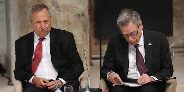 DRESDEN, GERMANY - MAY 28:  Former U.S. Secretary of the Treasury Lawrence Summers (L) and Canadian Minister of Finance Joe Oliver attend a symposium during a meeting of finance ministers of the G7 group of nations on May 28, 2015 in Dresden, Germany. The G7 finance ministers are meeting ahead of the upcoming G7 summit at Schloss Elmau in June.  (Photo by Sean Gallup/Getty Images)