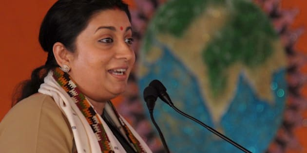 Minister of Human Resource Development, Smriti Zubin Irani addresses the Akhil Bharatiya Vidyarthi Parishad (ABVP) - a right wing all-India student organisation - 60th National Conference in Amritsar on November 16, 2014. Hundreds of ABVP members from across the country are visiting the city to attend the organisation's 60th National Conference from November 14-16. AFP PHOTO/NARINDER NANU        (Photo credit should read NARINDER NANU/AFP/Getty Images)