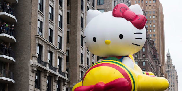 The Hello Kitty balloon floats in the Macy's Thanksgiving Day Parade on Thursday, Nov. 27, 2014 in New York. (Photo by Charles Sykes/Invision/AP)