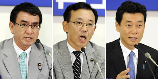 This combo picture shows three candidates for the election of Japan's opposition Liberal Democratic Party (LDP) leader (L-R) Taro Kono, Sadakazu Tanigaki and Yasutoshi Nishimura at their press conference at the LDP headquarters in Tokyo on September 18, 2009. The president's post of the LDP was vacated after former premier Taro Aso stepped down to take responsibility for the party's election rout in late August. The conservative party is set to elect a new leader on September 28. (Photo credit should read YOSHIKAZU TSUNO/AFP/Getty Images)