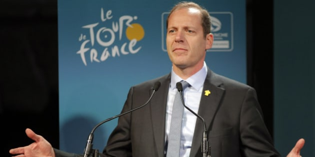 Tour de France director Christian Prudhomme delivers his speech during the presentation of the start of the Tour de France 2016 cycling race in Mont-Saint-Michel, western France, Tuesday, Dec. 9, 2014. The Race will start in Mont Saint Michel on Saturday, July, 2, 2016. (AP Photo/Christophe Ena)