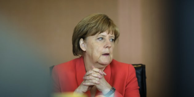 German Chancellor Angela Merkel  attends the weekly cabinet meeting at the chancellery in Berlin, Wednesday, July 8, 2015. (AP Photo/Markus Schreiber)