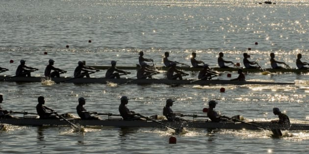 View of teams from Canada, Cuba and Argentina competing in the Men´s Eight With Coxswain heat at the Rowing and Canoeing Course during the XVI Pan-American Games Guadalajara 2011 in Ciudad Guzman, Jalisco State, Mexico on October 16, 2011. AFP PHOTO/Alfredo Estrella (Photo credit should read ALFREDO ESTRELLA/AFP/Getty Images)