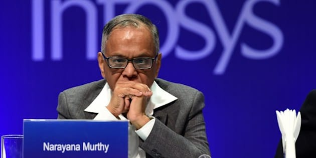 Outgoing chairman of Infosys, N.R. Narayana Murthy watches proceedings during the 33rd Annual General Meeting of the company in Bangalore on June 14, 2014. In his last address as chairman, N.R. Narayana Murthy of Infosys welcomed the IT major's new CEO and MD Vishal Sikka, and said that the current CEO SD Shibulal will leave the company on July 31. AFP PHOTO/Manjunath KIRAN        (Photo credit should read Manjunath Kiran/AFP/Getty Images)