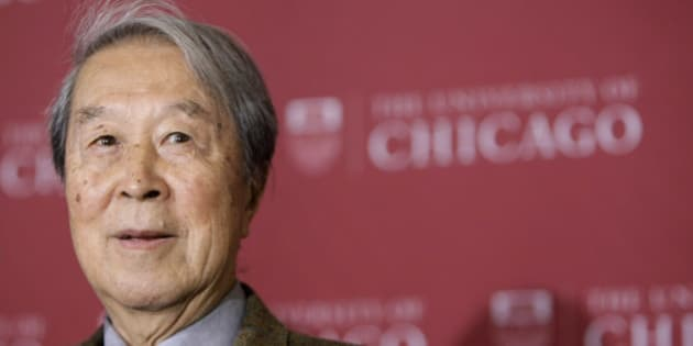 University of Chicago Physics professor Yoichiro Nambu during a news conference after winning the Nobel Prize in Physics on the university campus in the Hyde Park neighborhood of Chicago, Tuesday, Oct. 7, 2008. (AP Photo/Charles Rex Arbogast)