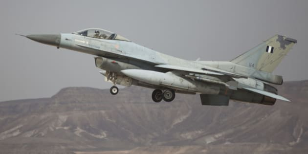 EILAT, ISRAEL - DECEMBER 09:  A Greek F-16 jet takes off on December 9, 2014 at the Ovda airbase in the Negev Desert near Eilat, southern Israel. Israel and Greece concluded a Joint Air Forces drill during the joint IDF-Hellenic Air Force drill week. On Sunday, official Syrian media reported that Israeli jets had bombed targets near Damascus International Airport and in the town of Dimas, north of Damascus and near the border with Lebanon.  (Photo by Lior Mizrahi/Getty Images)