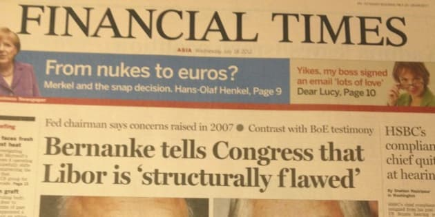 "An epic placeholder-text balls-up on the front page of the FT. ""Bernanke quote gets these in here and quote here"", sez the Fed chief."