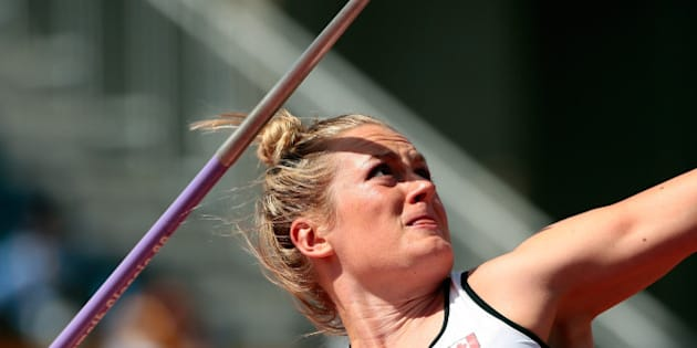TORONTO, ON - JULY 21:  Elizabeth Gleadle of Canada competes in the women's javelin throw final during Day 11 of the Toronto 2015 Pan Am Games on July 21, 2015 in Toronto, Canada. Gleadle won the gold medal.  (Photo by Ezra Shaw/Getty Images)