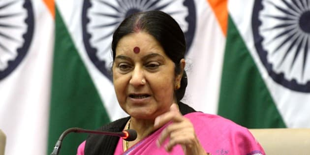 Indian Foreign Minister Sushma Swaraj gestures as she addresses media representatives in New Delhi on June 16, 2015, ahead of flagging off a batch of pilgrims on their journey to Mount Kailash. The mountain which is near Lake Mansarovar in Tibet is close to the source of many of Asia's longest rivers, Indus, Brahmaputra, Sutlej and is considered a sacred place by many religions among these is Hinduism, devotees of which belief the mountain to be where Lord Shiva resides in meditation with his wife Parvati.    AFP PHOTO/PRAKASH SINGH        (Photo credit should read PRAKASH SINGH/AFP/Getty Images)