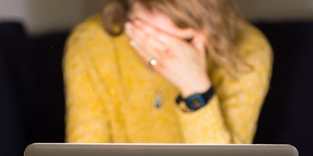 PICTURE POSED BY MODEL Stock photo of a woman using a laptop.
