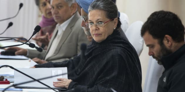 India's opposition Congress party President Sonia Gandhi presides over the Congress Working Committee (CWC) meeting at the party headquarters in New Delhi, India, Tuesday, Jan. 13, 2015. The CWC is the highest decision making body of the Congress party. (AP Photo /Manish Swarup)
