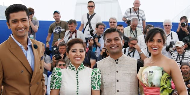 (From L) Indian actor Vicky Kaushal, Indian actress Shweta Tripathi, Indian director Neeraj Ghaywan and Indian actress Richa Chadda pose during a photocall for the film 'Masaan' at the 68th Cannes Film Festival in Cannes, southeastern France, on May 19, 2015. AFP PHOTO / VALERY HACHE        (Photo credit should read VALERY HACHE/AFP/Getty Images)