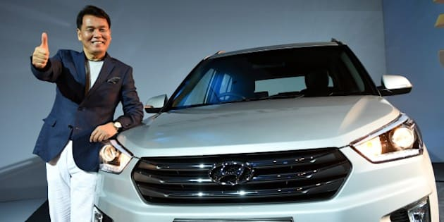 Managing Director and CEO, Hyundai Motors India limited, B S Seo poses during the launch of the Hyundai Creta in New Delhi on July 21, 2015.  The five-seater SUV is being launched globally in India.  AFP PHOTO / MONEY SHARMA        (Photo credit should read MONEY SHARMA/AFP/Getty Images)