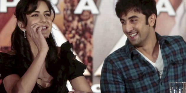 "Bollywood actors Katrina Kaif, left, and Ranbir Kapoor look on during a press conference on their new film ""Rajneeti,"" or Politics, in Mumbai, India, Saturday, May 8, 2010. (AP Photo) **INDIA OUT **"