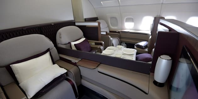 A picture taken on June 16, 2015 during the International Paris Airshow at Le Bourget shows the  first class area of a Qatar Airlines' A380. AFP PHOTO /  /MIGUEL MEDINA        (Photo credit should read MIGUEL MEDINA/AFP/Getty Images)