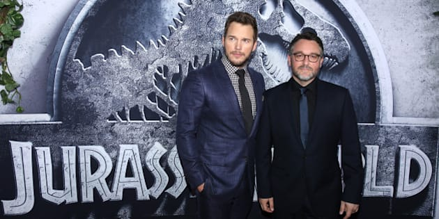 """Chris Pratt, left, and director/writer Colin Trevorrow arrive at the Los Angeles premiere of """"Jurassic World"""" at the Dolby Theatre on Tuesday, June 9, 2015. (Photo by Matt Sayles/Invision/AP)"""