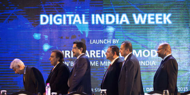 From left to right, Indian industrialists Azim Premji, Mukesh Ambani, Kumar Mangalam Birla, Cyrus Mistry, Anil Ambani and Anil Agarwal attend the inaugural session of digital India project in New Delhi, India, Wednesday, July 1, 2015. The initiative involves creating opportunities for all Indian citizens by harnessing digital technologies, to empower every citizen with access to digital services, knowledge and information. On the left is Indian Finance Minister Arun Jaitley, and on the right is Ravi Shankar Prasad, Indian minister of telecommunication. (AP Photo/Saurabh Das)
