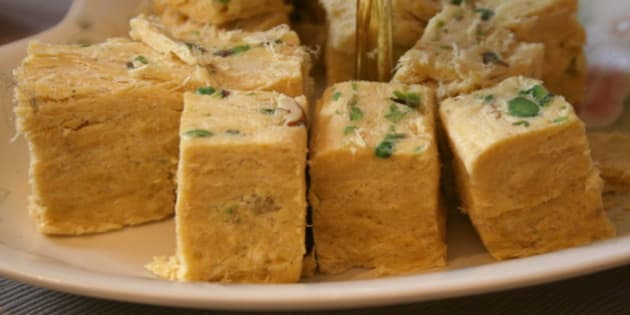 Soan papdi, a sugary treat from India.