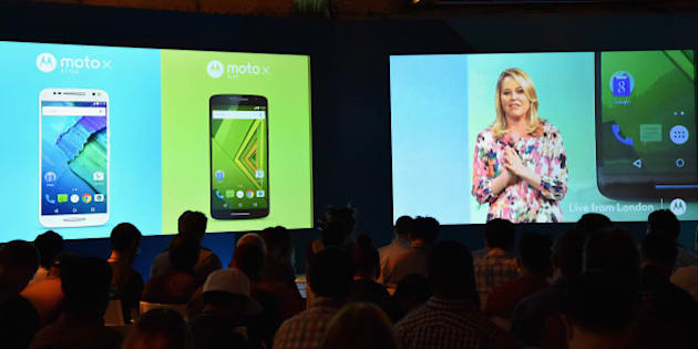 NEW YORK, NY - JULY 28:  Adrienne Hayes, Senior Vice President, Marketing and Communications, introduces the new Moto X Play and Moto X Style smartphones from a global Livestream event in London on July 28, 2015.  (Photo by Mike Coppola/Getty Images for Motorola Mobility)