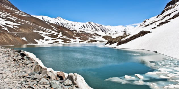 The icy river at the beginning of summer! On the way to Leh from Manali, After Rotang pass.