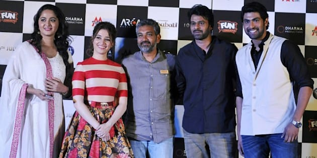 Indian Bollywood actors (L-R) Anushka Shetty, Tamannaah Bhatia, writter and director S. S. Rajamouli, and actors Prabhas and Rana Daggubati attend the trailer launch of their upcoming film 'Baahubali', written and directed by S. S. Rajamouli (L), in Mumbai late on June 1, 2015. AFP PHOTO        (Photo credit should read STR/AFP/Getty Images)