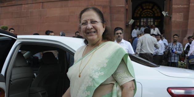NEW DELHI, INDIA - AUGUST 3: Lok Sabha Speaker Sumitra Mahajan coming out after talking to media persons about the suspension of the 27 MPs after the session was adjourned during Monsoon Session at the Parliament House, on August 3, 2015 in New Delhi, India. 25 of Congress partys 44 members in Lok Sabha were today suspended for five days for causing disruptions, setting the stage for escalation in confrontation as nine opposition parties decided to boycott the House for these days to express solidarity with the suspended members.ty with the suspended members. (Photo by Sushil Kumar/Hindustan Times via Getty Images)