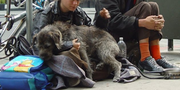 <b>Homeless Couple with Dog</b> 6th Street and Mission San Francisco, CA