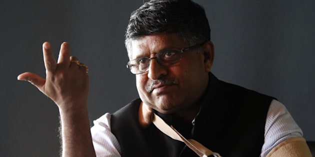 NEW DELHI, INDIA - APRIL 17: Union Minister for Communications and IT Ravi Shankar Prasad during an exclusive interview at HT Office on April 17, 2015 in New Delhi, India. (Photo by Arvind Yadav/Hindustan Times )