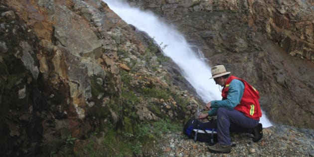 Geologist doing field work, Hudson Bay mountain, Smithers, British Columbia