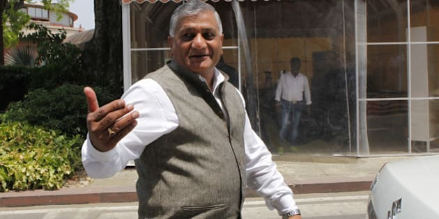 NEW DELHI, INDIA - APRIL 27: Union Minister of State for External Affairs VK Singh during Budget Session of Parliament House on April 27, 2015 in New Delhi, India. Members of the Lok Sabha decided to donate a months salary for the relief work in Nepal. (Photo by Arvind Yadav/Hindustan Times via Getty Images)