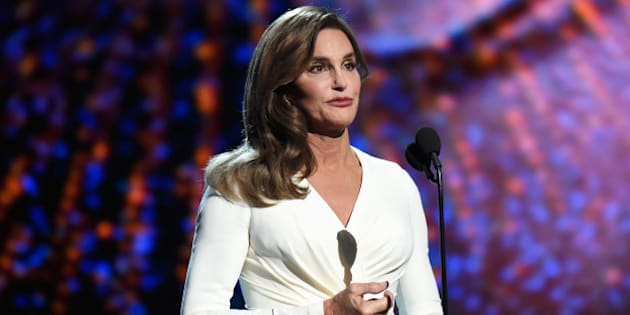 LOS ANGELES, CA - JULY 15:  Caitlyn Jenner accepts the Arthur Ashe Courage Award and speaks onstage during The 2015 ESPYS at Microsoft Theater on July 15, 2015 in Los Angeles, California.  (Photo by Kevin Mazur/WireImage)