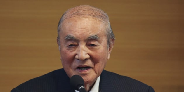 Former Japanese Prime Minister Yasuhiro Nakasone delivers a speech during the annual meeting on Japan's constitution reform in Tokyo Friday, May 1, 2015. Japan's conservative ruling party, led by Prime Minister Shinzo Abe, is gearing up for a new push to achieve its long-sought goal of revising the country's U.S.-drafted post-World War II constitution. Its first challenge: winning over a divided public. Liberal Democratic Party lawmakers and other supporters rallied Friday ahead of Sunday's Constitution Day holiday, when Japan's democratic and war-renouncing charter took effect 68 years ago. (AP Photo/Koji Sasahara)