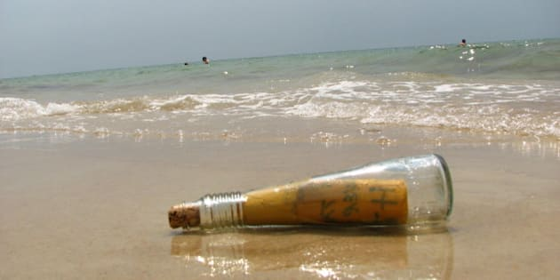 """We found this bottle in the water. It felt like in movie """"Message in the bottle"""".. Of course we expected some love letter in it, but it said """"God is the answer"""". Definitely not a love-love letter, but still a message written with love to God :-)"""