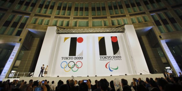 The official emblems of the Tokyo 2020 Olympics and Paralympic Games, is unveiled at Tokyo Metropolitan Plaza in Tokyo, Friday, July  24, 2015. (AP Photo/Shizuo Kambayashi)
