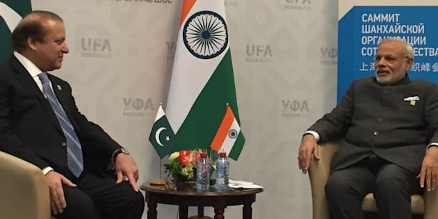UFA, RUSSIA - JULY 10: Pakistani Prime Minister Muhammad Nawaz Sharif (L) and India's Prime Minister Narendra Modi (R) meet during Shanghai Cooperation Organization (SCO) summit in Ufa on July 10, 2015. (Photo by Pakistani Foreign Ministry/Anadolu Agency/Getty Images)
