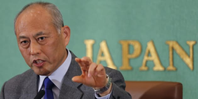 Japan's former Health, Labor and Welfare Minister Yoichi Masuzoe speaks during a press conference by the Tokyo gubernatorial election candidates at the Japan National Press Club in Tokyo Wednesday, Jan. 22, 2014.  Masuzoe, 65, runs for the Feb. 9 election to choose a replacement for Naoki Inose who resigned last month over a money scandal. (AP Photo/Shizuo Kambayashi)