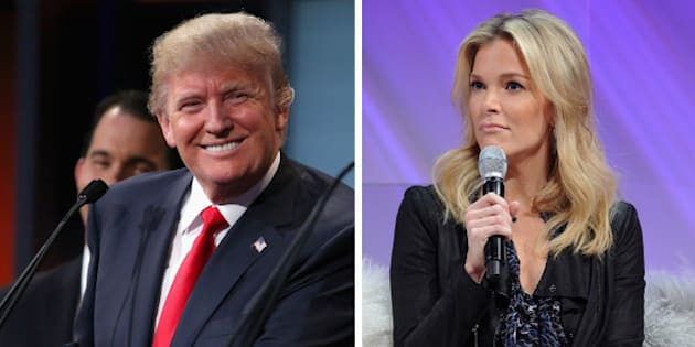 (FILE PHOTO) In this composite image a comparison has been made between Donald Trump (L) and Megyn Kelly  ***LEFT IMAGE***   CLEVELAND, OH - AUGUST 06:  Republican presidential candidate Donald Trump participates in the first prime-time presidential debate hosted by FOX News and Facebook at the Quicken Loans Arena August 6, 2015 in Cleveland, Ohio. The top-ten GOP candidates were selected to participate in the debate based on their rank in an average of the five most recent national political polls.  (Photo by Chip Somodevilla/Getty Images) **RIGHT IMAGE*** NEW YORK, NY - NOVEMBER 08:  (L-R): Megyn Kelly, FOX News Channel Anchor speaks onstage during Cosmopolitan Magazine's Fun Fearless Life Conference powered by WME Live at The David Koch Theatre at Lincoln Center on November 8, 2014 in New York City.  (Photo by Craig Barritt/Getty Images for Cosmopolitan Magazine and WME Live)