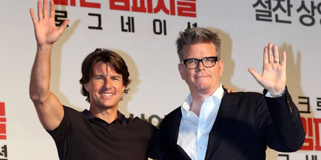 SEOUL, SOUTH KOREA - JULY 30:  Tom Cruise  and Christopher McQuarrie attend the movie 'Mission: Impossible - Rogue Nation' press conference at Grand Intercontinental on July 30, 2015 in Seoul, South Korea.  (Photo by ilgan Sports/Multi-Bits via Getty Images)