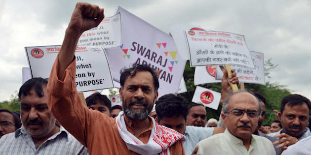 NEW DELHI,INDIA JULY 26: Swaraj Abhiyan leader Prashant Bhushan,Yogendra Yadav and Prof Anand Sharma during a protest against Delhi Race Club near PM house in New Delhi.(Photo by Qamar Sibtain/India Today Group/Getty Images)