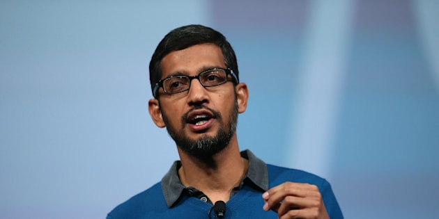 SAN FRANCISCO, CA - MAY 28:  Google senior vice president of product Sundar Pichai delivers the keynote address during the 2015 Google I/O conference on May 28, 2015 in San Francisco, California. The annual Google I/O conference runs through May 29.  (Photo by Justin Sullivan/Getty Images)