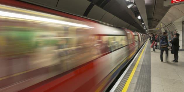 UK, England, London, London Bridge Underground Station, Northern Line train