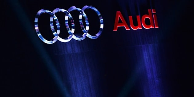 The Audi logo is seen at the launch of the new Audi TT car in the Indian capital New Delhi on April 23, 2015. Audi is launching ten products in India amid competition from rival Mercedes-Benz. AFP PHOTO / SAJJAD HUSSAIN        (Photo credit should read SAJJAD HUSSAIN/AFP/Getty Images)