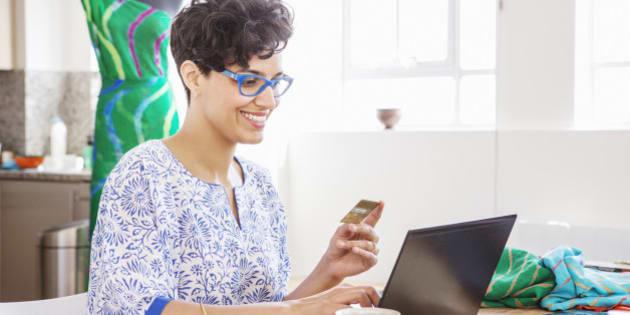 fashion designer ordering textiles online.