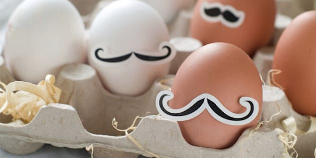 Hipster eggs for Easter, selective focus.
