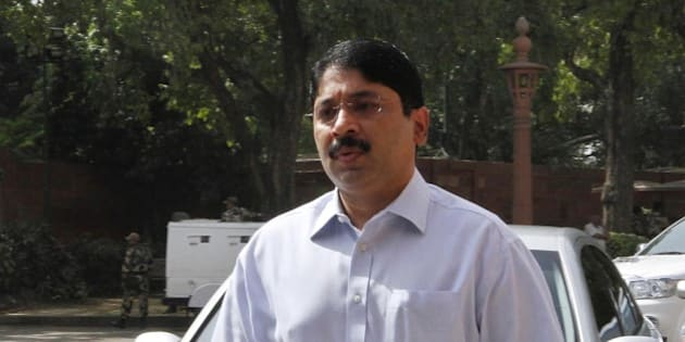 NEW DELHI, INDIA - MAY 16: DMK leader Dayanidhi Maran arrives  at Parliament House on May 16, 2012 in New Delhi, India. Today the final debate on Finance Bill was held in Rajya Sabha.(Photo by Arvind Yadav/ Hindustan Times via Getty Images)