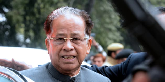 Chief Minister of the north-eastern Indian state of Assam Tarun Gogoi arrives to attend a Congress Party leaders meeting in New Delhi on December 27, 2013. In the first major poll exercise after the party's drubbing in recent Assembly elections, Congress Party vice-president Rahul Gandhi  held a strategy session with top leaders and Chief Ministers of 12 Congress-ruled states to make the party fighting fit for the up coming Parliament election. AFP PHOTO/RAVEENDRAN        (Photo credit should read RAVEENDRAN/AFP/Getty Images)
