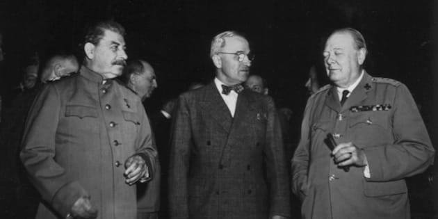 Potsdam conference. Truman, Stalin and Churchill, 1945, World War II, National Archives - Washington, . (Photo by: Photo12/UIG via Getty Images)