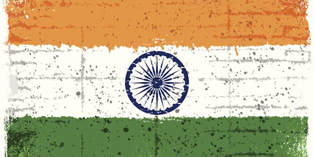 Grunge Indian flag. Clipping mask used. 'Multiply' used for chakra symbol on the flag.
