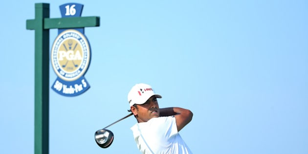 SHEBOYGAN, WI - AUGUST 16:  Anirban Lahiri of India plays his shot from the 16th tee during the final round of the 2015 PGA Championship at Whistling Straits  on August 16, 2015 in Sheboygan, Wisconsin.  (Photo by Andrew Redington/Getty Images)