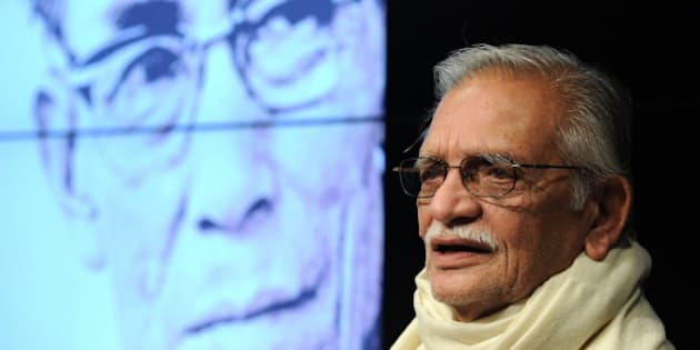 Indian filmaker, author, lyricist and Dadasaheb Phalke, the highest award in the field of Indian cinema, recipient Gulzar speaks at a function to launch the biography of music legend S.D. Burman in Mumbai on August 8, 2014. The book titled 'Sun Mere Bandhu Re - The Musical World of SD Burman' contains trivia's anecdotes and hitherto unknown facts about the music maestro.    AFP PHOTO/ INDRANIL MUKHERJEE        (Photo credit should read INDRANIL MUKHERJEE/AFP/Getty Images)